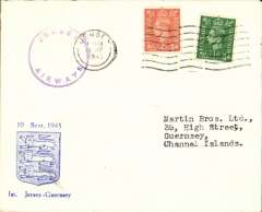 (GB Internal) Channel Island Airways, first airmail service Jersey to Guernsey, no arrival ds, souvenir cover franked  2 1/2d, official violet circular cachet.