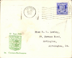 (Channel Is) Channel Island Airways, first airmail service Jersey to Southampton, no arrival ds, souvenir cover franked  German Occupation Local 2 1/2d stamp, official violet circular cachet.