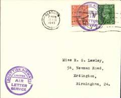 """(GB Internal) Stornoway-Glasgow air letter service, cover flown Stornoway to Glasgow, plain cover franked 2 1/2d canc violet circular """"Scottish Airways Limited/Air Letter Service"""" hs,  posted on arrival in Glasgow, 11 Aug 45 cds."""