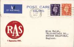 (GB Internal) Inauguration RAS Wartime Airmail Service, Belfast to Liverpool, no arrival ds, PC franked 2d + 3d air fee, canc Belfast 1/9 cds, large red circular 'RAS/1 September' cachet . Francis Field authentication hs verso.