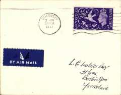 (Channel Is) Channel Island Airways last flight, Guernsey to Southampton, no arrival ds, plain cover franked GB 3d, canc Guernsey 31 Mch 1947 cds, dark blue/white airmail etiquette. Uncommon.