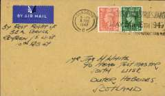 """(GB Internal) Rare first mail carried by BEA on their new Glasgow - Outer Hebrides service, Glasgow to South Uist, bs 11 Fe 47 cds, plain cover franked 2 1/2d canc Glasgow 9 Feb , ms """"By First Flight of/BEA Service/Renfrew/S.Uist/10th Feb 47"""". Only about 20 have been traced. A super item in fine condition."""