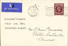 """(GB Internal) Rare first acceptance of mail for Thurso for carriage on Highland Airways Inverness-Wick-Kirkwall service, Inverness to Thurso, bs 10/12, plain airmail etiquette cover  franked 1 1/2d canc Inverness 10/12 machine postmark, typed """"Highland Airways/First Air Mail/Inverness-Thurso"""". A super item in fine condition."""