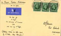 """(GB Internal) Rare outgoing mail from Thurso carried on the Highland Airways Inverness-Wick-Kirkwall service, Thurso to Kirkwall, bs 11/12, a Gilmour airmail etiquette cover  franked 1 1/2d canc Thurso 10 Dec 34 cds, ms """"First Flight Thurso-Kirkwall/10-12-1934"""" also """"Too late for 1st flight but postmarked 10th December 1934 and sent by 2nd flight"""" and """"Authotity: Thurso PO letter signed by R. Trotter, Head Postmaster"""". According to Beith """"Outgoing mail from Thurso is even scarcer than incoming mail"""", p9. A great one for the exhibit, and in fine condition."""