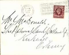 (GB Internal) The Moray Firth Crash, Highland Airways, plain cover franked 1 1/2d, canc Glasgow 7/1 cds, addressed to Kirkwall, Orkney, no arrival ds. Francis Field authentication hs. All the mail was salvaged. The largest part of the mail was coming from Scottish towns and bears cancellations of the 7th, Nierink 350108. The Kirkwall mail was in the after end of the cabin and was intact owing to the tail being raised, Beith p62.