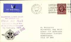 (GB Internal) Blackpool and West Coast Air Services Ltd, Liverpool to Isle of Man, F/F eleventh GB Inland Airmail Service, Crest cover with logo on front lh corner, franked 1 1/2d, canc Liver[pool machine, purple six line flight cachet, violet '1 Feb 1935' arrival ds which was applied to covers flown to the island, and black six line flight cachet verso .
