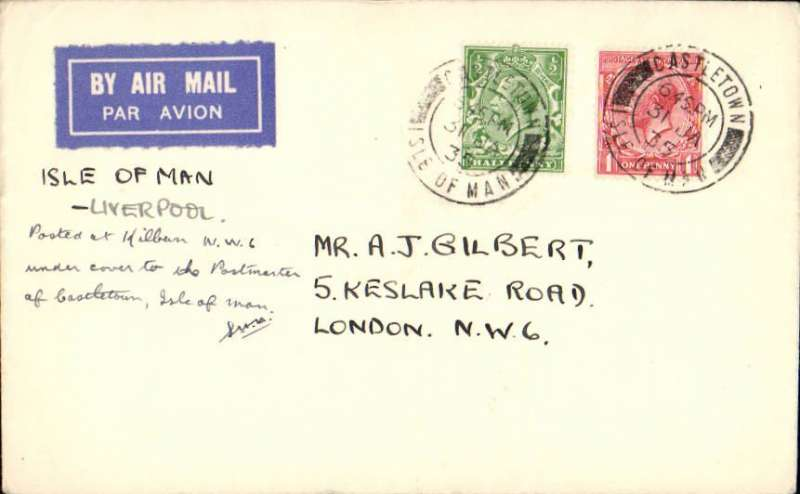 (GB Internal) Blackpool and West Coast Air Services Ltd, Isle of Man to Liverpool, no arrival ds, , F/F eleventh GB Inland Airmail Service, franked 1 1/2d, canc Castletown, IOM cds.