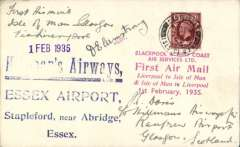 """(GB Internal) Blackpool and West Coast Air Services Ltd, Isle of Man to Glasgow, F/F eleventh GB Inland Airmail Service, plain cover franked 1 1/2d, official red company six line flight cachet and violet st. line '1 Feb 1935' ds, signed by pilot, D.E.Armstrong. On arrival in Glasgow this cover was sent on in error to Essex and bears a blue four line """"Hillman's Airways/Essex Airport/Stapleford, near Abridge/Essex"""" hs. Interesting."""