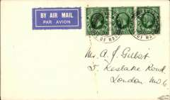 (GB Internal) Blackpool and West Coast Air Services Ltd, Isle of Man to London, no arrival ds, F/F eleventh GB Inland Airmail Service, franked 1 1/2d, canc Castletown, IOM cds.