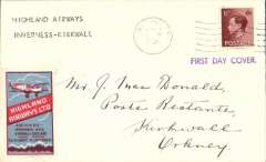 """(GB Internal) FDC King Edward VII 1 1/2d , Inverness to Kirkwall, bs 1/9, typed """"Highland Airways/Inverness-Kirkwall"""", rectangular blue/red airline propaganda label."""