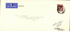 (GB Internal) Northern and Scottish Airways Ltd, Western Isles second emergency service flown when the island mail boat was disabled, Glasgow to Islay, bs 12/3, commercial airmail etiquette cover franked 1 1/2d canc Glasgow 11 Mar 1937 cds, signed by the pilot Capt. David Barclay, and the Wireless Officer F.R.Hughes. Ironed vertical crease.