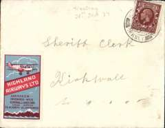 (GB Internal) Highland Airways Ltd, Western Isles second Sanday emergency service, Westray to Kirkwall, no arrival ds, flown when the island mail boat was disabled by bad weather, plain cover franked 1 1/2d cancelled Westray 28 Jan 37, red blue Highland Airways propaganda label on front. Francis Field authentication hs.  Also original 250 word newspaper cutting describing this event.