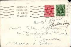 """(GB Internal) Aberdeen Airways, Shetland Emergency flight, Alnwick, Northumberland to Lerwick, no arrival ds, plain cover franked 1 1/2d. By the end of January 1937 mails for Shetland had lain storm-bound for two weeks at Aberdeen. Aberdeen Airways were chartered to fly mail to Sumburgh in Shetland via Thurso in two stages, Aberdeen-Thurso, flown by Flying Officer J.Gordon Hay, and Thurso-Sumburgh flown by  pilot Henry Vallance. This cover is signed by both pilots, and also bears a Francis Field authentication hs verso. These covers are"""" decidedly rare"""", see Redgrove p113. A superb item."""