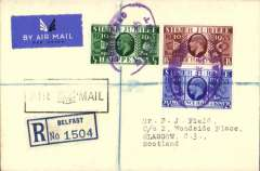 (GB Internal) Hillman Airways, cover flown tenth GB Inland Airmail Service London-Liverpool-Belfast-Glasgow service, Belfast to Glasgow, no arrival ds, registered (label) airmail etiquette cover franked Silver Jubilee 1/2d, 1 1/2d and 2 1/2d, canc violet oval Belfast registered ds, type 2 hollow wings Glasgow arrival cachet on front.