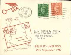 (GB Internal) F/F All Up Service between N. Ireland and Great Britain, Belfast to Liverpool, BEA 'All-up Service' cover.