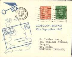 (GB Internal) F/F All Up Service between N. Ireland and Great Britain, Glasgow to Belfast, BEA 'All-up Service' cover.