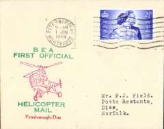 (GB Internal) Inauguration first helicopter-operated public mail service, Peterborough to Diss, bs 1/6, printed souvenir cover, BEA