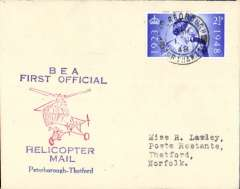 (GB Internal) Inauguration first helicopter-operated public mail service, Peterborough to Thetford, bs 1/6, printed souvenir cover, BEA