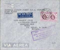 "(Hong Kong) Hong Kong to London, no arrival ds, carried on F/F HK-Penang, framed violet ""First through flight/Hong Kong-Penang-London/27th March 1936"" cachet, imprint airmail etiquette cover, Imperial AW. Ironed vertical crease, otherwise fine."