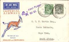 (Uganda) Kampala to Cape Town 21/12, on First Christmas Flight, via Johannesburg 21/12, Springbok cover franked 55c, Imperial Airways