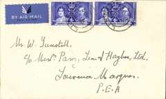 (Kenya) First southbound all flying boat service via coastal route, Lindi to Lourenco Marques, bs 12/6, via Dar es Salaam 6/6, Tunstall cover franked 60c, Imperial Airways. Enclose is a letter from the Lindi postmaster confirming first dispatch dates to S. Africa and P.E.A.