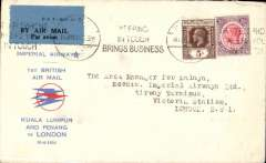 "(Malaya) Imperial Airways/ITCA new accelerated schedule via Kuala Lumpur and Penang, F/F Penang to London, Imperial Airways Arrival Terminus 24 Apr 1934 receiver, red/blue/white souvenir cover with small circular red/blue speedbird logo and printed ""Imperial Airways/1st British Air Mail/Kuala Lumpur and Penang/ to London/15-4-34"", franked 40c canc postmarked Penang machine cancel 14 Apr 1934."
