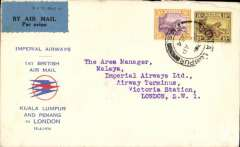 "(Malaya) Imperial Airways/ITCA new accelerated schedule via Kuala Lumpur and Penang, F/F Kuala Lumpur to London, Imperial Airways Arrival Terminus 24 Apr 1934 receiver, red/blue/white souvenir cover with small circular red/blue speedbirds logo and printed ""Imperial Airways/1st British Air Mail/Kuala Lumpur and Penang/ to London/15-4-34"", franked 40c canc Kuala Lumpur reg oval 14 Ap 34 ds."