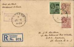 """(Montserrat) The only recorded mail from Montserrat. Montserrat to Castries, St. Lucia, bs 27/2/1931, registered (label) cover franked KGV 1/-, 3d and 1 1/2d, canc Montserrat cds, also tying violet framed """"First Air Mail/Montserrat"""" cachet. In June 1930 arrangements were made by NYRBA for a special flight from Antigua to Montserrat and return. Mail prepared at Plymouth, Montserrat was postmarked and cacheted, but the flight had to be cancelled due to bad weather. In February 1931 HMS """"Dorsetshire"""" called at Plymouth and left behind a seaplane to follow on to Bassetiere, St Kitts. The flight was made on 23 Feb 1931. It is not known whether the mail for St Lucia was then forwarded from St Kitts by sea, or by Pan Am plane. See Locke JM, Air Mails of the West Indies, 1962. A great exhibit item.   AIR MAIL COVER 1931 (FEB) XU5 EX 1930 (JUNE) ABORTED FIRST FLIGHT FROM MONTSERRAT TO ST. LUCIA;"""