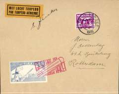 (Netherlands ) Rocket post, blue stamp tied by red cachet, yellow 'par Torpedo Aerienne' label, plain cover franked 1 1/2c, signed by Zucker.