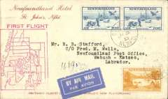 (Newfoundland) F/F St Johns-Wabush-Katsao, Newfoundland Hotel/St John's corner cover franked Labrador 10c and 30c x2 air issue, canc St John's 11/7, bs St John's 31/7 and Wabash - Katsao Gold Concessions 20/7, large red First Flight 'map' cachet on front and red eight line 'Air Mail/First Flight' cachet verso.
