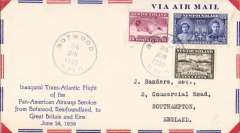 (Newfoundland) F/F FAM 18  Northern  Route, Botwood to Southampton, airmail cover franked 30c, Pan Am