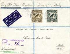 (Papua and New Guinea) Registered (hs) airmail cover, Finchhafen (Papua New Guinea) to Bulle (Switzerland) bs 19/11/35. via Rabaul 26/10 and Brisbane 5/11, franked New Guinea 5/- (SG 201) and 5d (SG 196), stamps cat £62.50 used, canc Finchhafen 20 Oct 1935 cds . Carried by sea 400 miles to Rabaul, then by air to Brisbane, and OAT by air to Switzerland via Singapore and Italy. A well documented cover from a scarce and historically significant origin. The Battle of Finschhafen was part of the Huon Peninsula campaign during the Second World War from September and October 1943 between Australian and Japanese forces.