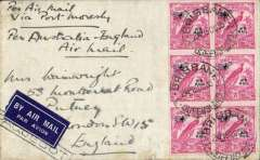 (Papua and New Guinea) Cover posted from a vessel in the Coral Sea addressed to England, no arrival ds, via Port Moresby and Brisbane, plain cover franked New Guinea 3 1/2d (SG 194a), canc Brisbane 15 Oct 1935, black framed 'Paquebot' and ms 'Per Air Mail/Via Port Moresby/Per Australia-England/Air Mail'. By sea to Port Moresby where airmail etiquette and New Guinea stamps were applied, the OAT to Brisbane where stamps cancelled Brisbane 15 Oct 1935 cds. An uncommon origin. 