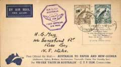 "(New Caledonia) Ulm and Allan's return flight in ""Faith in Australia,"" flown from Port Moresby to Sydney 1/8, attractive red/blue/pale blue souvenir cover with decorative border and inset picture of Commander CTP Ulm, franked 5d and 3d Papua air stamps (SG196,197), violet octagonal flight cachet."