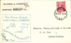 (New Zealand) Dominion Airlines Ltd, F/F Hastings to Gisborne, plain cover franked 1d cancelled on arrival Gisborne 19 JA 31 cds, cut 'Hastings to Gisborne/Dominion Airlines Ltd' to remove word 'sixpence', green framed rubber stamp cachet, signed by the pilot G.B.Bolt. Francis Field authentication hs verso.