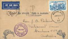 "(New Zealand) CP Ulm, first official mail, New Zealand to Australia, bs Sydney 17/2, franked 7d ""Trans Tasman"" opt, special cachet, official blue'buff Kiwi/Kookaburra souvenir cover, signed by pilot CP Ulm."