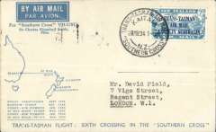 (New Zealand) Sixth Trans Tasman crossing of VH-USU Southern Cross, Kaita to Sydney, bs 22/3, bluecream souvenir cover with map and list of crossings, franked 7d air canc Kaita cds, violet circular Trans Tasman souvenir flight cachet.