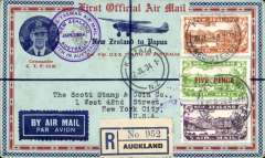 (New Zealand) First acceptance of mail for USA, bs New York 28/8 for carriage on the Charles Ulm, Faith in Australia flight, Trans Tasman and Pacific flight, NZ dispatch, registered (label) souvenir cover with inset of Ulm,  with mixed franking, NZ 7d, 4d, 3d airs canc Auckland 25/6, and PNG 6d air opt x2 canc Port Moresby 26/7, also Kaitaia 2/7 on front and Sydney 2/7 verso, and purple 'Trans Tasman Air Mail/Faith in Australia' on front, and  'First Official Airmail/Australia,Papua and New Guinea' and  'First Official Airmail/New Guinea Australia' cachets verso. This flight was the first NZ airmail service to North Queensland, Papua and New Guinea.  Carried onward by sea from Sydney to New York.