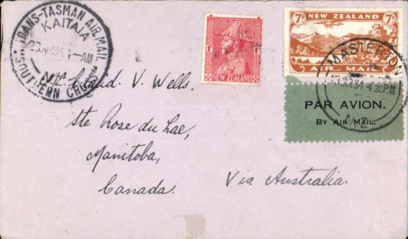 """(New Zealand) New Zealand to Canada, bs Rose du Lac 28/4, via Sydney 29/3 Air Mail Section, carried on Kingsford Smith's """"Southern Cross"""" Kaita-Sydney flight, black circular flight cachet, plain cover franked 7d air +1d tying black/pale green airmail etiquette."""