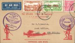 (New Zealand) Trans Tasman Flight, Kaitaia-Sydney 2/7 and on to Lae, NG 27/7, franked 7d & 5/3d opt + 1d ordinary canc Kaitaia cds, violet NZ-Australia flight and Australia-PNG cachets, red/buff aborigine cover, signed by the pilot GU Alan.