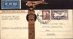 (New Zealand) F/F Dunedin to Palmerston North, bs 16/3, brown/cream souvenir cover depicting DH flying over Maori totem, franked 3d air + 1 1/2d. Onward to Morocco, bs Ville-Nouvelle 17/4. Uncommon destination..