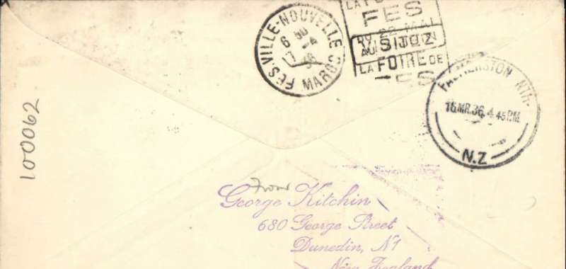 (New Zealand) First acceptance of airmail for Morocco, bs Ville-Nouvelle 17/4 for carriage on the F/F Dunedin to Palmerston North, bs 16/3, brown/cream souvenir cover depicting DH flying over Maori totem, franked 3d air + 1 1/2d. Uncommon destination..