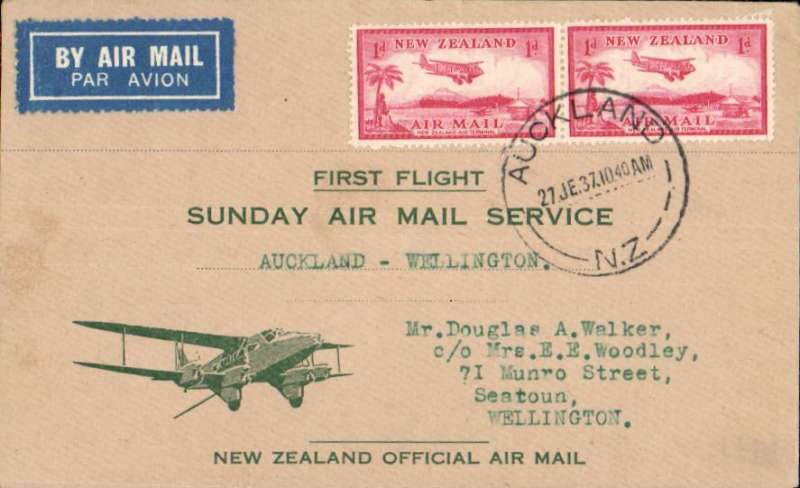 (New Zealand) F/F Lockheed Electra service, Auckland to Wellington, bs 27/6, green/buff souvenir cover franked 2d canc Auckland cds..