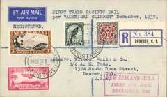 "(New Zealand) Dunedin to Denver, USA, bs 7/1/38, carried on Capt. Musik's ""Samoan Clipper"", Pan American South Pacific Survey flight #2, Auckland to San Francisco, bs 6/1/38, franked 4/10d, red boxed ""New Zealand-USA/First Air Mail/December 1937"", par avion etiquette, plain registered (label) cover. Attractive item."
