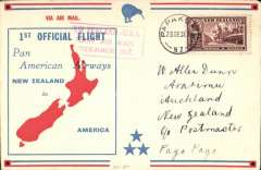 (New Zealand) Capt. Musik, Pan Am 'Samoa Clipper', Trans-Pacific Survey Flight #2, New Zealand to Pago Pago, bs 1/1/38, red/blue/cream souvenir cover, franked 6d, canc Auckland 28/12 cds, red framed fight cachet.