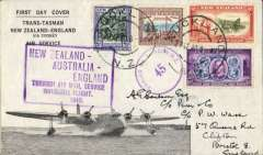 """(New Zealand) Auckland-London, carried on the inaugural flight flying boat """"Aotearoa"""" from Auckland to Sydney, then Qantas/BOAC to London, no arrival ds, large framed flight cachet, souvenir """"First Trans-Tasman/New Zealand-England/via Sydney/Air Service"""" cover, franked 1/6d, tied by violet circular NZ/7 censor mark. This service was suspended in June 1940 when Italy joined the war."""
