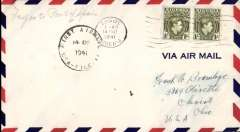 (Nigeria) Pan Am clipper service to Africa,  F/F FAM 22  Lagos to Port of Spain, plain cover franked 1/- x2, 'First Airmail/USA-Nigeria' cachet, b/s. This srategically important service, linking Africa and the USA, opened just at the critical time when Japan attacked Pearl Harbour and the USA went to war.