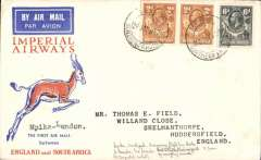 "(Recovered Interrupted Mail) Imperial Airways twice interrupted flight first flight, Mpika to London, bs Skelmanthorp 17/2, red/orange/white Springbok souvenir cover, franked 10d, black st line ""First Official Air Mail"" cachet, carried on first regular flight Cape Town-London. The City of Basra was damaged at take of at Salisbury. Mail was transferred to City of Delhi, which had to make an emergency landing due to bad weather near Broken Hill. Mail was then transferred to City of Baghdad, and arrived in London 9 days later than scheduled, ref Ni 320129 and 320129B. There is a neat handwritten inscription which says this cover went on the Emergency flight to Nairobi, but there is no 3/2 arrival ds to this effect."