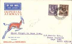 (Northern Rhodesia) Broken Hill to Cape Town, b/s 21/12,  via Jo'burg 21/12, via Johannesburg, 21/12, flown on Croydon-Cape Town Christmas Flight, Springbok cover franked 1/4d, Imperial Airways.