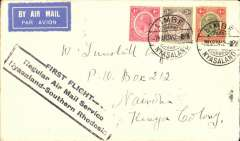 (Nyasaland) First acceptance of mail from Nyasaland for Kenya for carriage on the inaugural Rhodesia and Nyasaland Airways Feeder Service from Nyasaland to Southern Rhodesia, bs Salisbury 8/3, via Bantyre 8/3, Tunstall cover franked 8d, blackl framed 'First Flight' cachet, carried on RANA F/F Blantyre to Salisbury, then on IAW Cape-London  flight # AN 157, see Wingent p55.